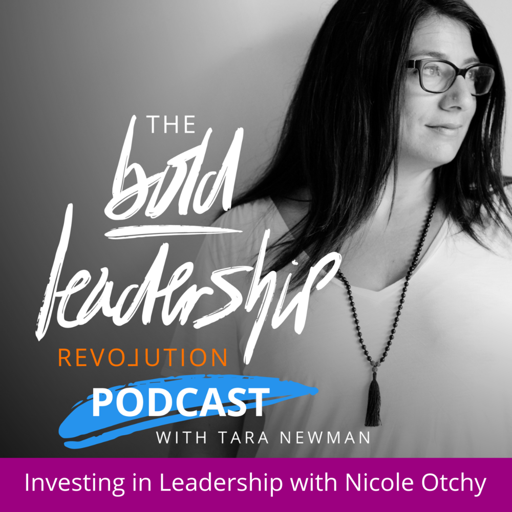 investing in leadership with nicole otchy podcast graphic for bold leadership revolution podcast