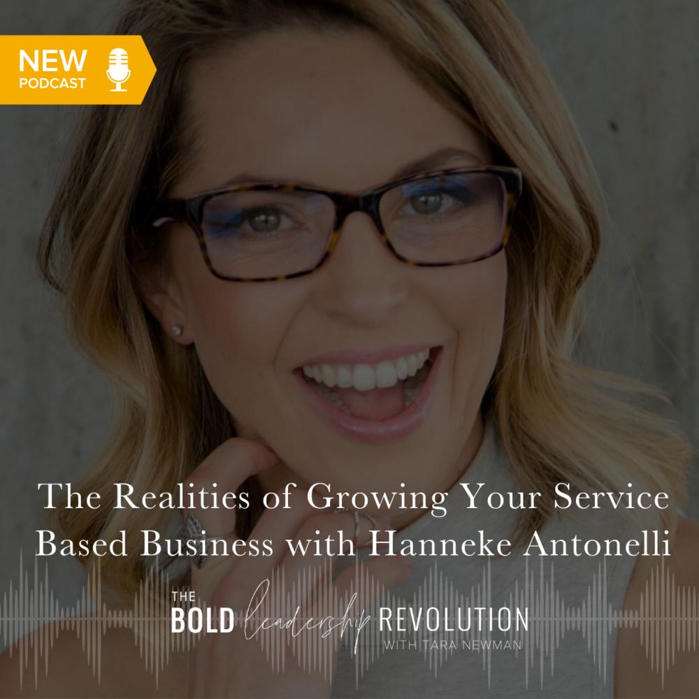 Headshot of Hanneke Antonelli smiling for bold leadership revolution podcast graphic